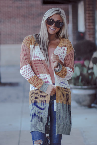 Mustard and Ivory Color Block Sheer Knit Cardigan