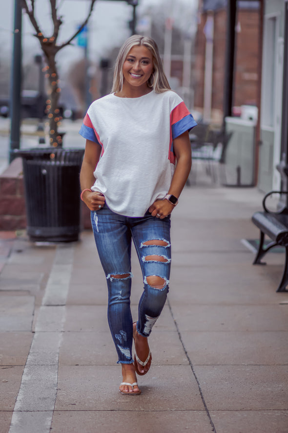 Ivory Red and Blue Color Block Sleeve Top