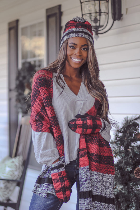 Red Plaid Winter Accessory Set