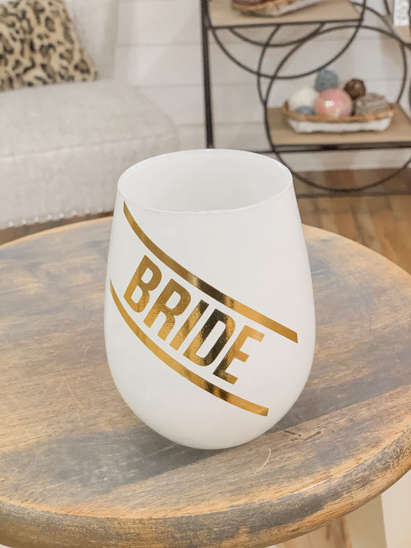 Ivory And Gold Bride Stemless Wine Glass