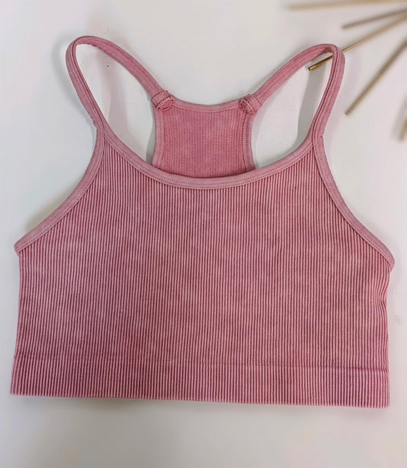 Mineral Washed Ribbed Racerback Sports Bra in Pink