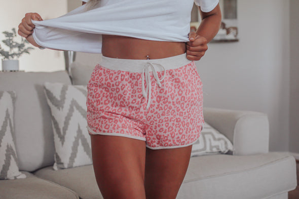 Bright Leopard Drawstring Shorts In Two Colors