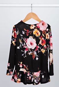 Black Floral Ruffle Kids Top