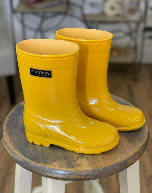 Roma Yellow Abel Kid's Rain Boots