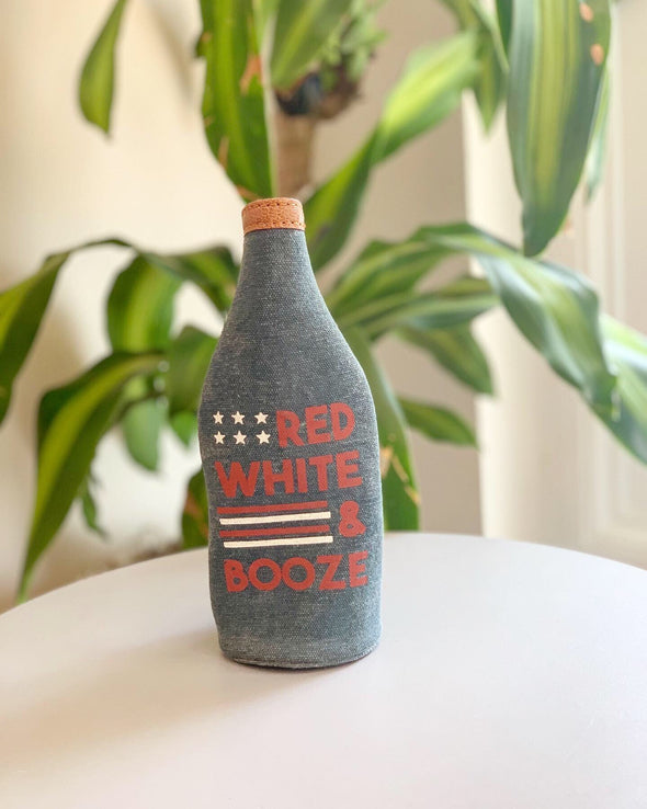Red White & Booze Upcycled Canvas Koozie