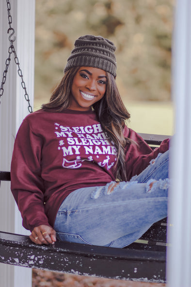 Wine Sleigh My Name Graphic Pullover