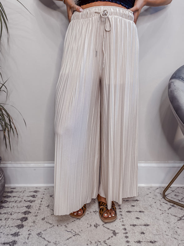 Taupe Woven Pleated Palazzo Pants