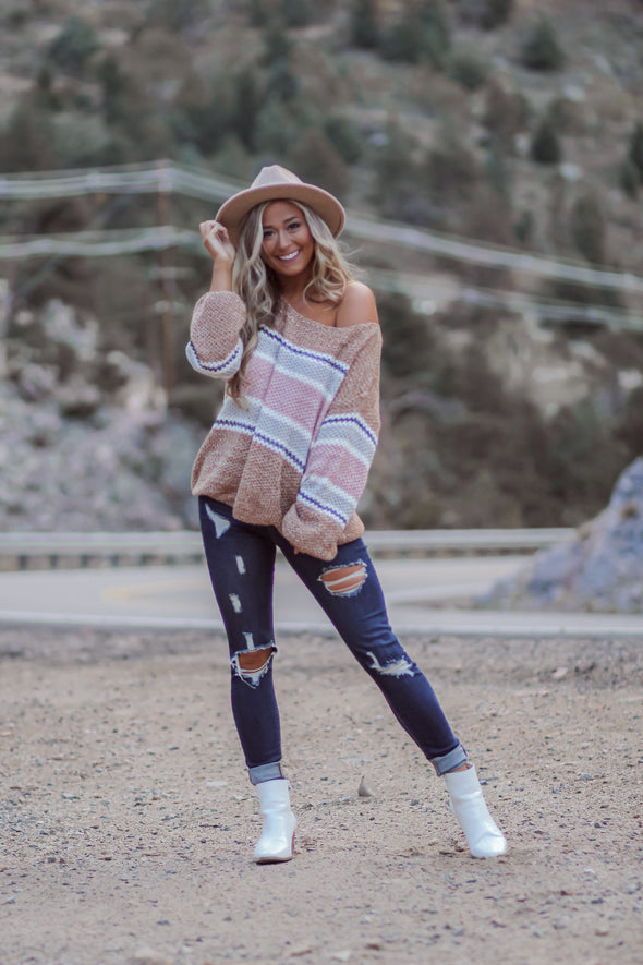 Camel and Mauve Striped Knit Sweater