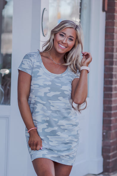 Z Supply Payton Camo Tee Dress in Dusty Sage