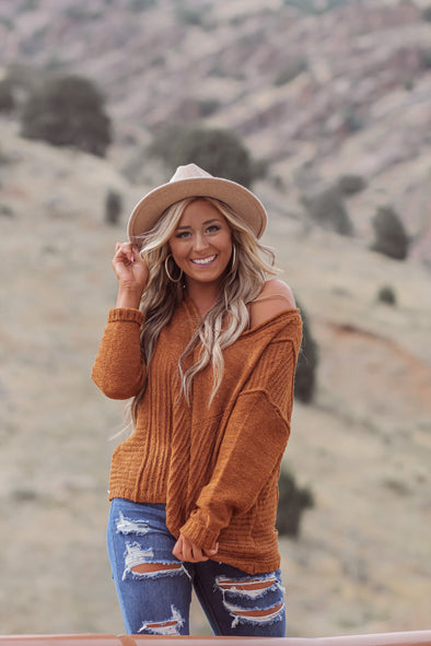 Camel Ribbed V Neck Sweater