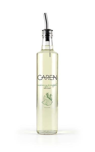 Caren Rosemary Pineapple 18oz Glass Bottle Dish Soap