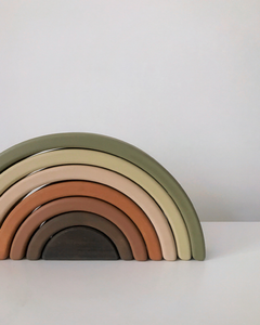 big wooden rainbow stacker (olive)