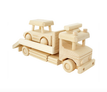 wooden tow truck with car