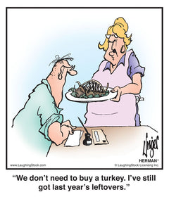 We don't need to buy a turkey. I've still got last year's leftovers.