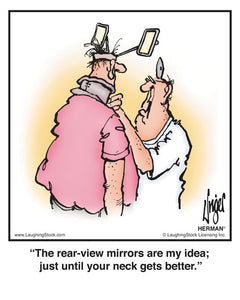 The rear-view mirrors are my idea; just until your neck gets better.