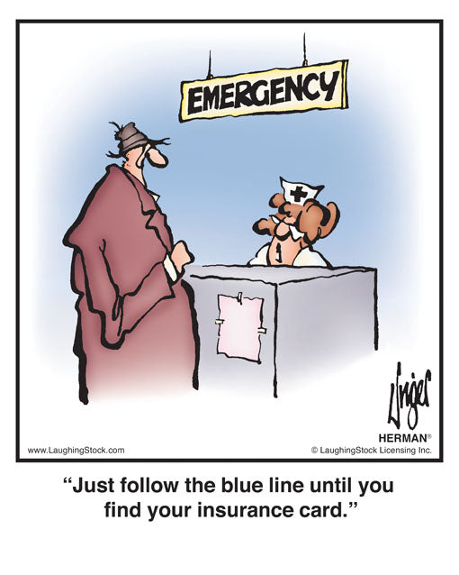 Just follow the blue line until you find your insurance card.