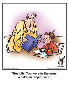 Hey Lily. You were in the army. What's an 'adjective'?