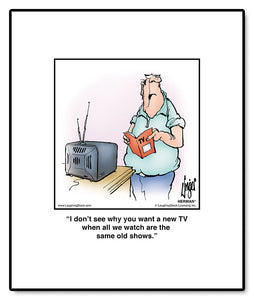I don't see why you want a new TV when all we watch are the same old shows.