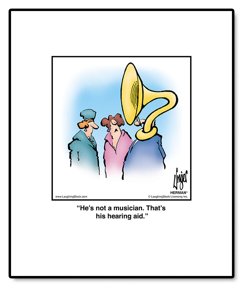 He's not a musician. That's his hearing aid.