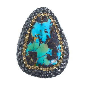Turquoise on Gold Ring