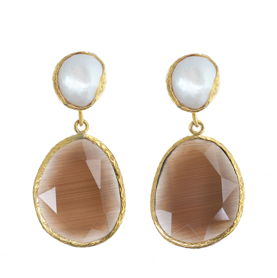 BW Baroque Pearl and Cat's Eye Earrings