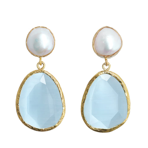 LW Baroque Pearl and Cat's Eye Earrings