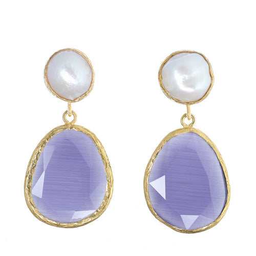 PW Baroque Pearl and Cat's Eye Earrings