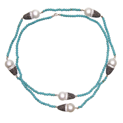 Baroque Pearls and Turquoise Necklace