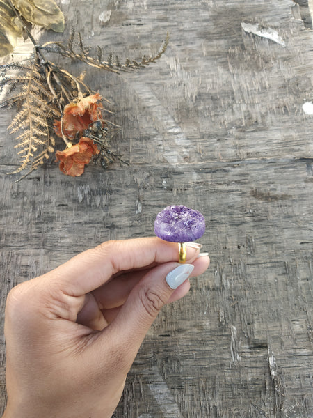 Cocktail Druzy Ring - Lavender Purple