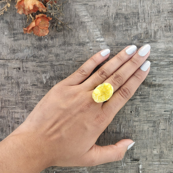 Cocktail Druzy Ring - Yellow