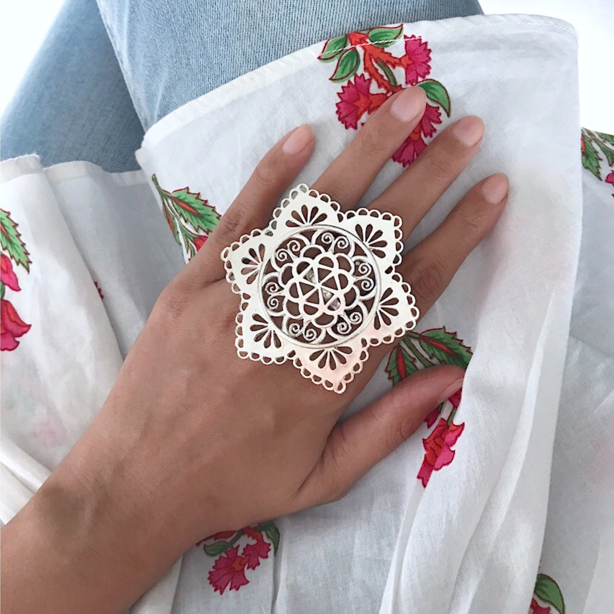 Gul Bahaar Ring - Silver Plated