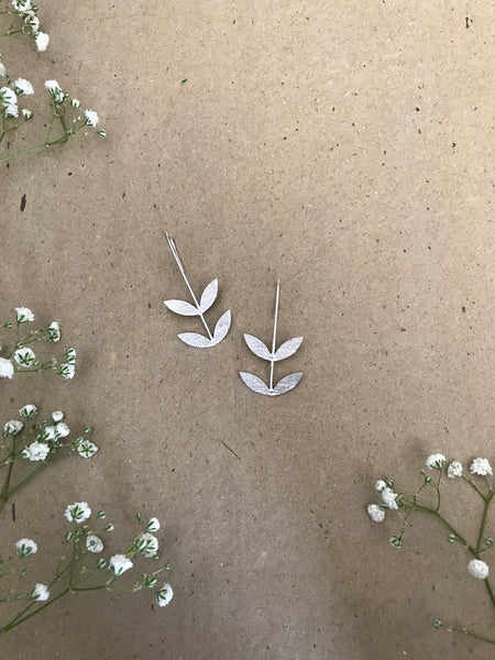 Leaf Earrings - Silver Plated