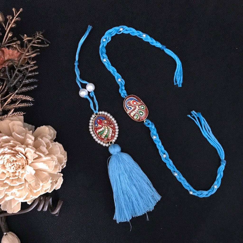 Tanjore Rakhi & Lumba Set with Pearls  - Blue & Red