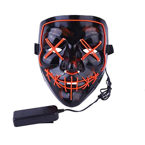 Halloween Scary Mask Cosplay Led Costume Mask EL Wire Light up for Halloween Festival Party