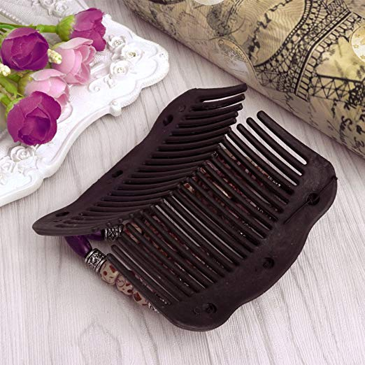 Vintage Magic Wood Beads Double Hair Comb Clip