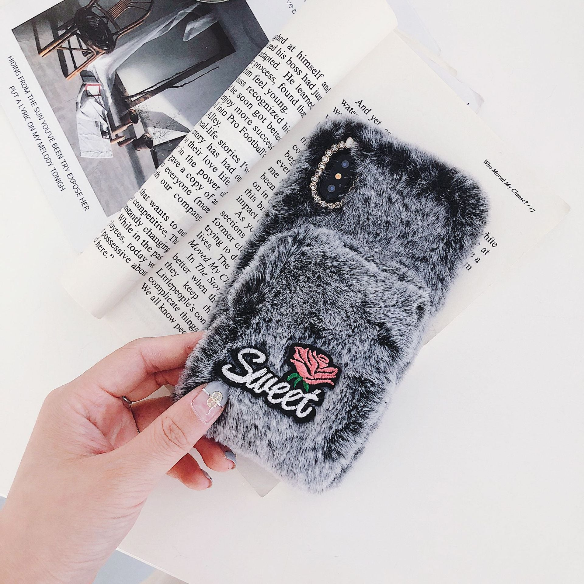 Plush Fluffy with Fur Wrist Holder Phone Case for iPhone