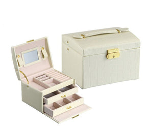 Jewelry Box Necklace Ring Storage Organizer Synthetic Leather Large Jewel Cabinet Gift Case