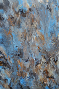 """Blue Marble"" By Alexandra Romano, Mixed Media on Canvas"