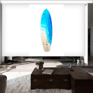 """Surf"" By Anna Sweet, Resin Painting on Fiberglassed Surfboard"