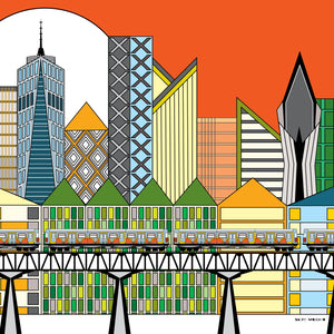 """Cityscape"" by Skye Wright, Digital Drawing-Printed on Museum Quality Acrylic Glass"