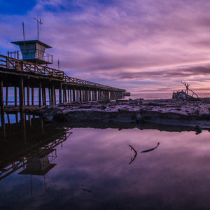 Shipwreck Pier Sunset (Aptos, Ca) by Don McCall, Photograph on Acrylic