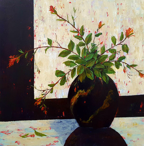 Black Oriental Vase with Small Roses by Catherine Hamilton, Acrylic on Canvas