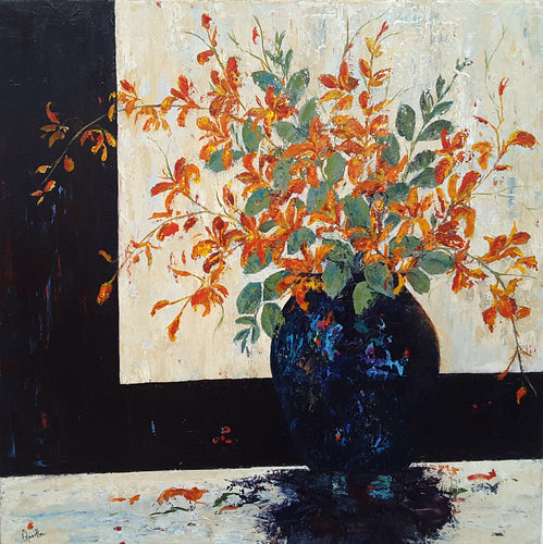 Blue Vase with Orchids by Catherine Hamilton, Acrylic on Canvas
