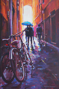 Blue Umbrella by Veronica Schmitt, Acrylic on Canvas