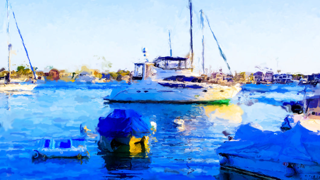 """Balboa Blue"" By Reza Safa, Oil on Canvas"