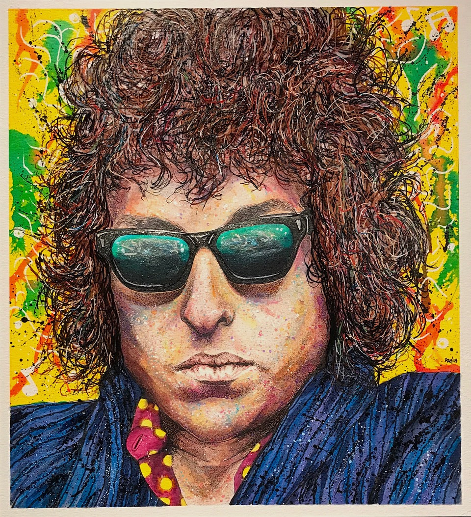 """Bob Dylan"" By Ritch Benford, Mixed Media on Watercolour Paper"