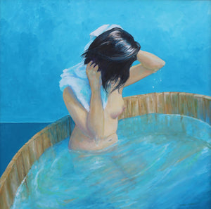 """Washing Hair"" by  Darrel McPherson, Oil on Canvas"