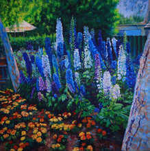 """Delphinium"" By Ruben Zavala, Oil on Canvas"