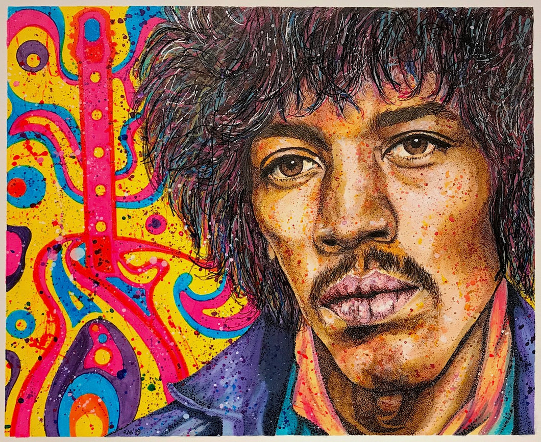 """Electric Jimi"" By Ritch Benford, Mixed Media on Watercolour Paper"