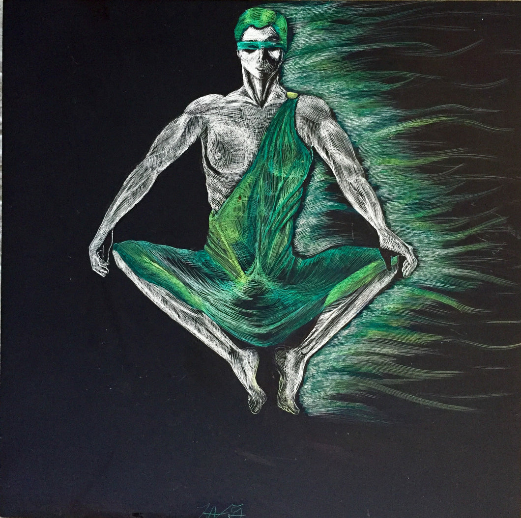 Green Pearl by Holly Gale, Mixed Media on Scratch Board
